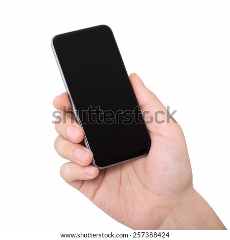 isolated man hand holding a phone with a black screen - stock photo