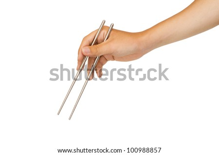 isolated man hand holding chopstick, with clipping path in jpg.