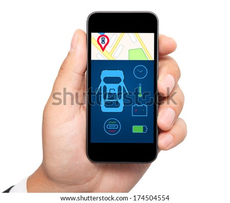 isolated man hand holding the phone with car alarm interface on a screen  - stock photo