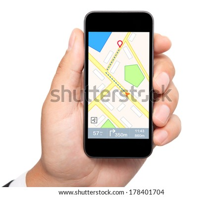 isolated man hand holding the phone with interface navigator on a screen  - stock photo