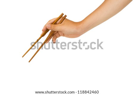 isolated man hand holding wooden chopstick, with clipping path in jpg.