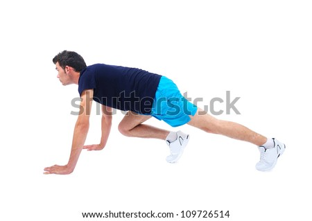 Isolated man in sport wear running