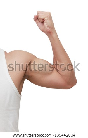 isolated  man's arm showing biceps - stock photo