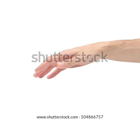 Isolated man's hand