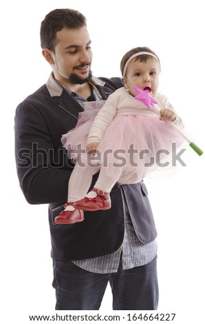 Isolated man with ballet baby and magic wand