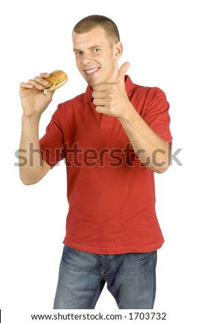 isolated man with burger - shows OK - stock photo