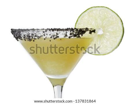 isolated margarita martini served with black lava salt on the rim - stock photo