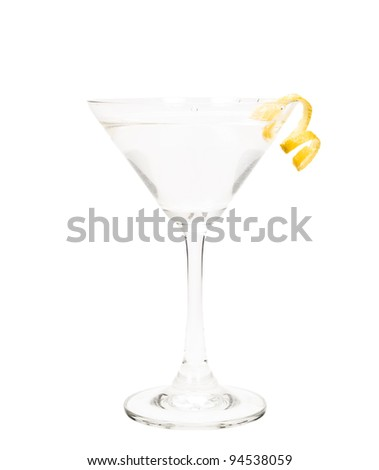 isolated martini on a white background garnished with a lemon twist - stock photo
