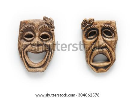 isolated mask -happy and sad faces - white background - stock photo