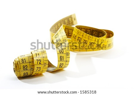 isolated measuring tape in yellow