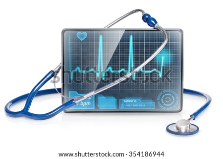 Isolated medical tablet with ECG on screen - stock photo