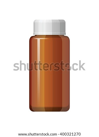 Isolated medicine bottle on white background. Empty medicine bottle for drugs, tablets, capsules. Pharmaceutic container.
