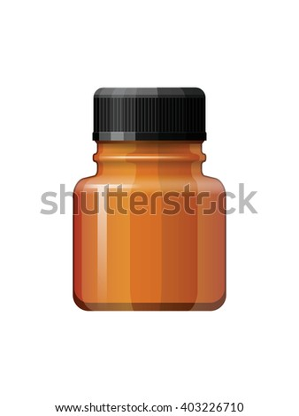 Isolated medicine bottle on white background. Empty medicine bottle for drugs, tablets, capsules. Pharmaceutic container. Medicine bottle