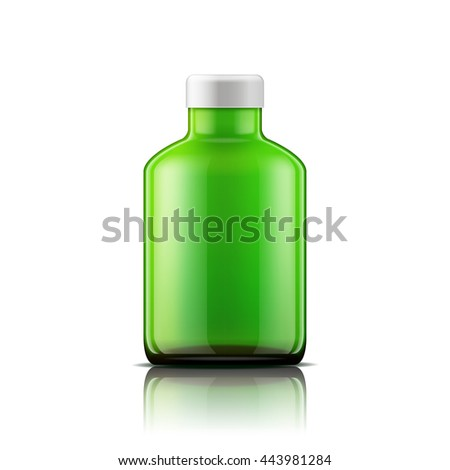 Isolated medicine bottle on white background. Empty medicine bottle for drugs, tablets, capsules. Jpeg version. - stock photo