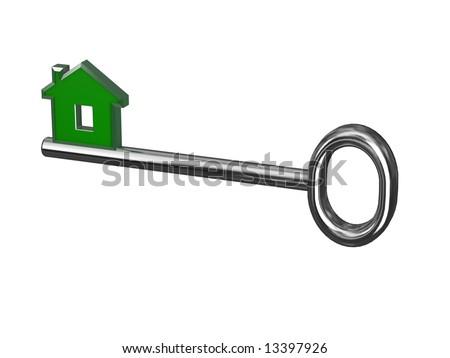 isolated metal house key - stock photo