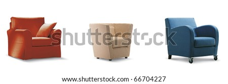 isolated minimal armchair collection - stock photo