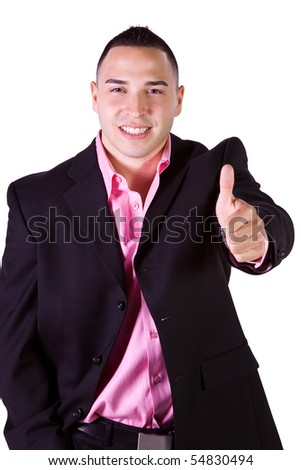 Isolated Minority Businessman - Giving a Thumbs Up - stock photo