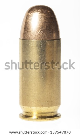 Isolated 45mm acp bullet - stock photo