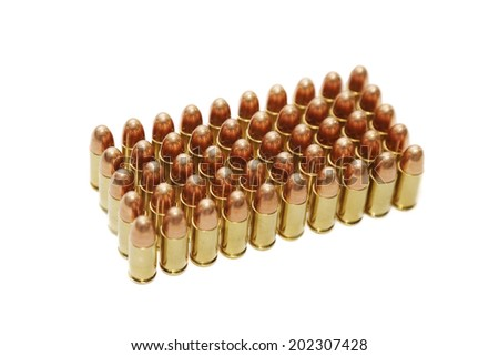 isolated 9 mm bullets on  white background - stock photo