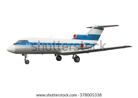 isolated model of legendary vintage oldtimer soviet and russian airplane orplane for local low cost airline or airway ithout any board numbers and flags - stock photo