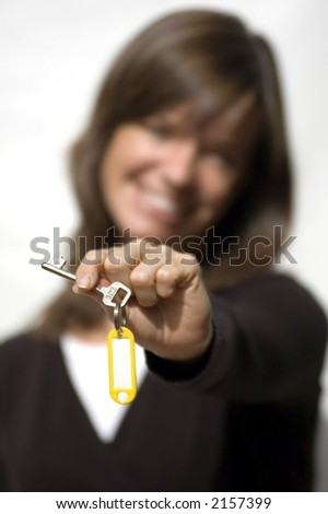 Isolated model on white background with new house keys