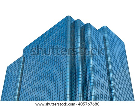 Isolated Modern Contemporary Glass Office Building Against A White Background - stock photo