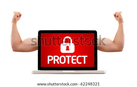 Isolated modern laptop with muscular biceps with protect and lock symbol - stock photo