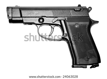 isolated modern military black firearm personal pistol