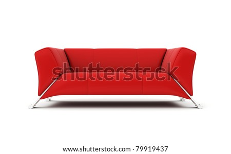 Isolated Modern Red Sofa. 3d Rendered Image