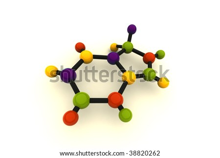 isolated molecule - 3d render on white
