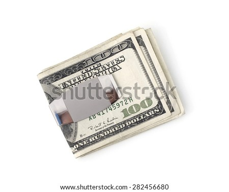 Isolated money clip with one hundred dollar bills. - stock photo