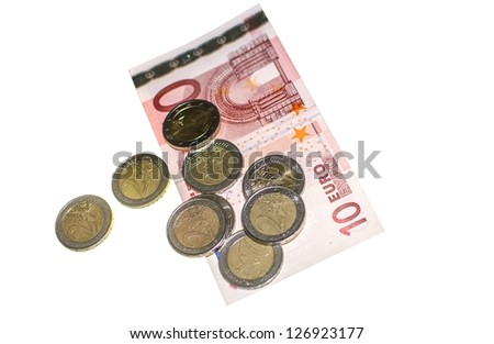 Isolated Money Coins and Notes in Euro
