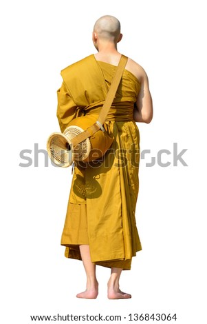 isolated monk on white background - stock photo