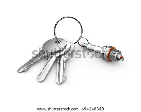 Isolated monochrome 3d illustration of engine spark plug and keys. on white background.