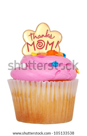 Isolated mothers day pink cupcake - stock photo
