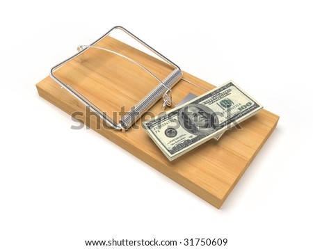 isolated mousetrap with dollars on white background