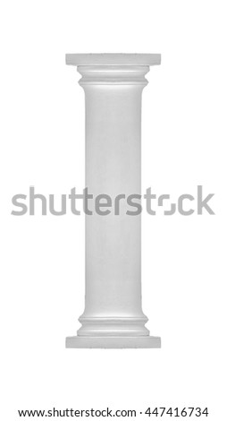 Isolated neoclassical style white column over white background - stock photo