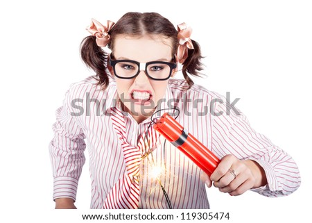 Isolated Nerd Business Woman Holding Lit Explosives While Gnashing Teeth With Fury In A Depiction Of A Explosion Time Bomb On White Background