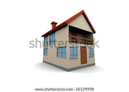 isolated new house - 3d render illustration on white