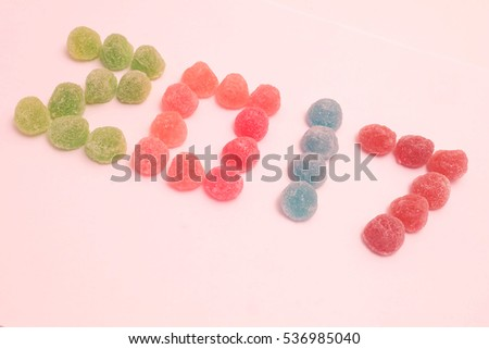 Isolated new year 2017 celebration by colorful jelly candy, sweet year with happiness and hope