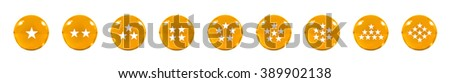 Isolated Nine Orange glass balls or marbles and a white star figure on, over white background with clipping path. - stock photo