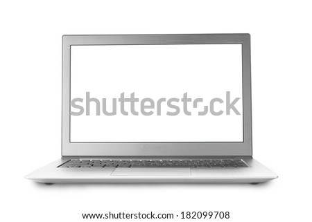 Isolated notebook with blank screen and white background - stock photo
