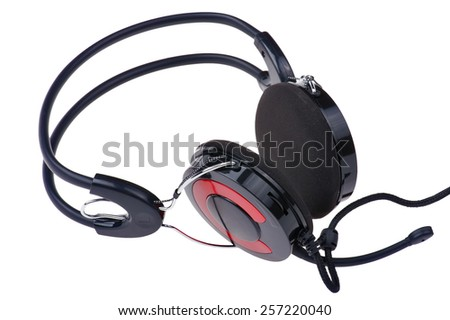 isolated object on white -  wired headphones - stock photo