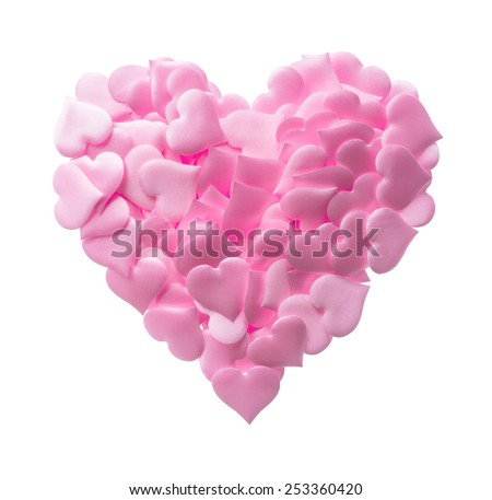 Isolated objects: big heart made of small pink hearts, suitable for Valentine`s day or wedding or some else romantic event