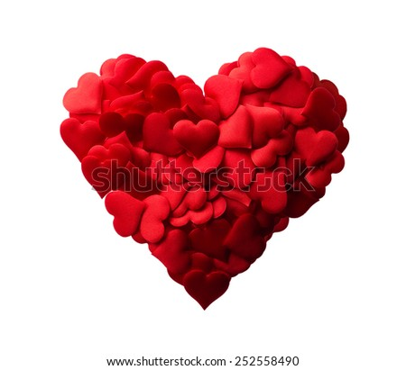 Isolated objects: red heart made of small hearts, suitable for Valentine`s day or wedding or some else romantic event - stock photo
