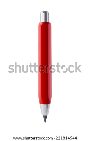 Isolated objects: red mechanical pencil, on white background - stock photo