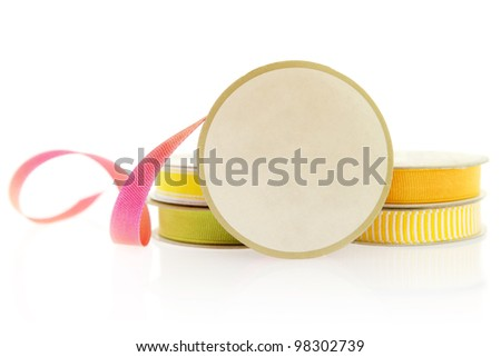 Isolated objects: ribbons for craft project, isolated on white background. Space for copy on the spool.