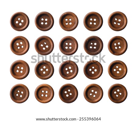 Isolated objects: set of dark brown wooden buttons, isolated on white background - stock photo