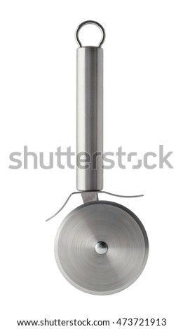 Isolated objects: stainless steel pizza knife, isolated on white background