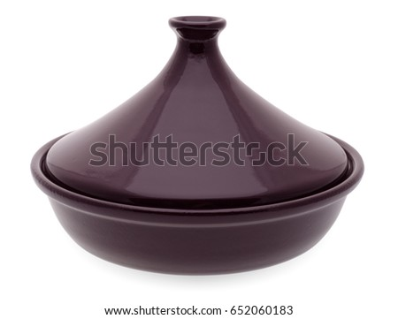 Isolated objects: traditional Moroccan ceramic tagine, isolated on white background